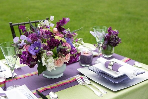 Purple and green, even the grass it part of the color scheme. Rustic Wedding Chic.com