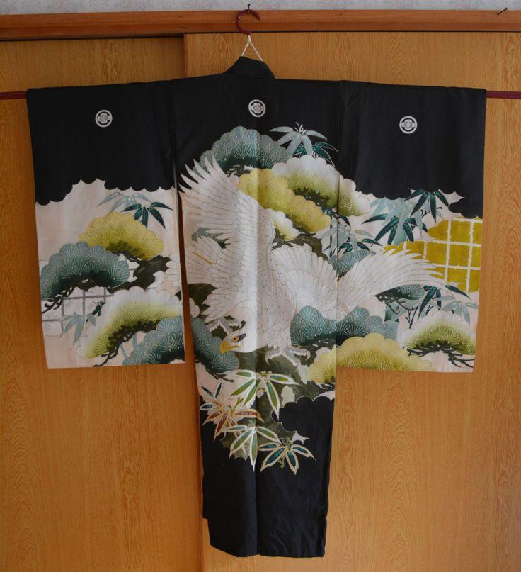 Boy's black silk kimono, authentic Japanese robe by StyledinJapan on Etsy