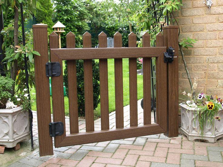 Fensys UPVC plastic rustic oak foiled picket style fence gate