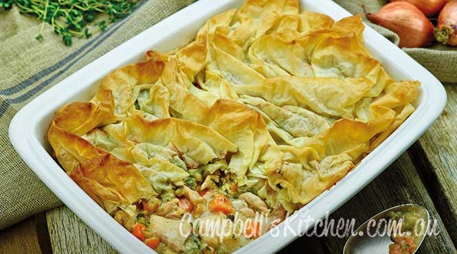 Spring chicken filo pie
