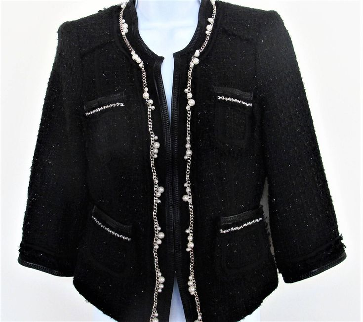 Women's Black Suit Jacket w Pearl, Wool, Silver Chain White House Black Market Easter Business Wool by KathleensVintageTrea on Etsy