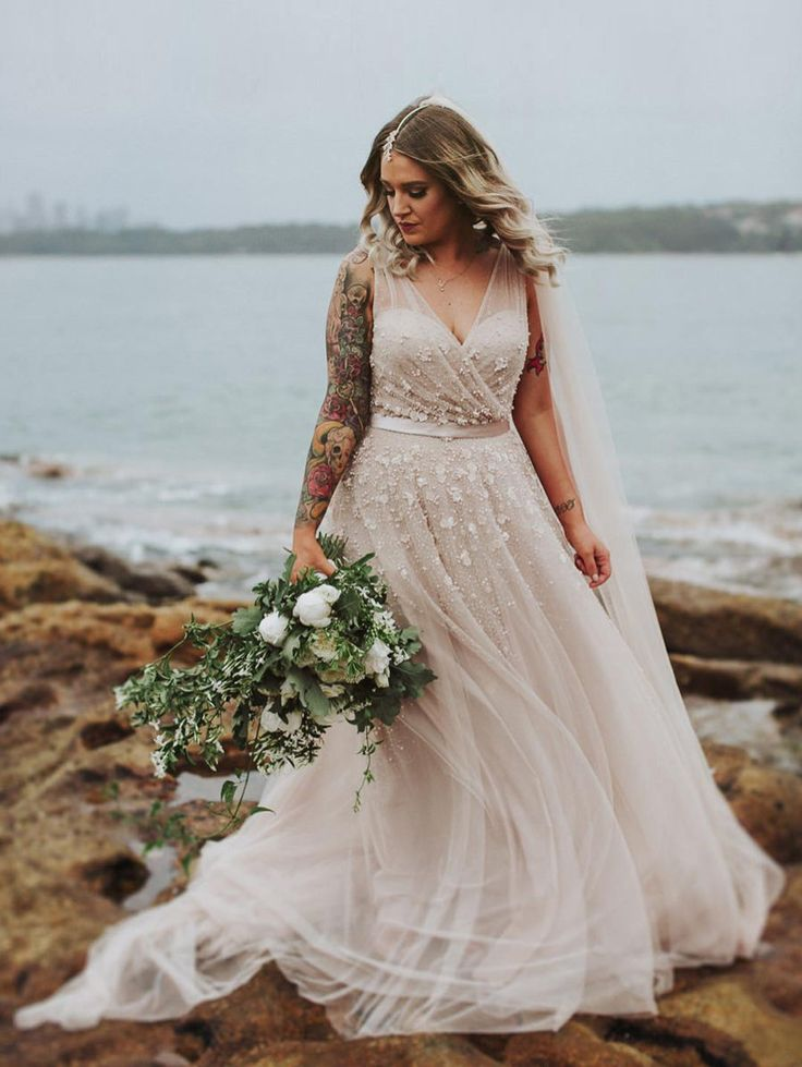 boho blush wedding dress by Wendy Makin