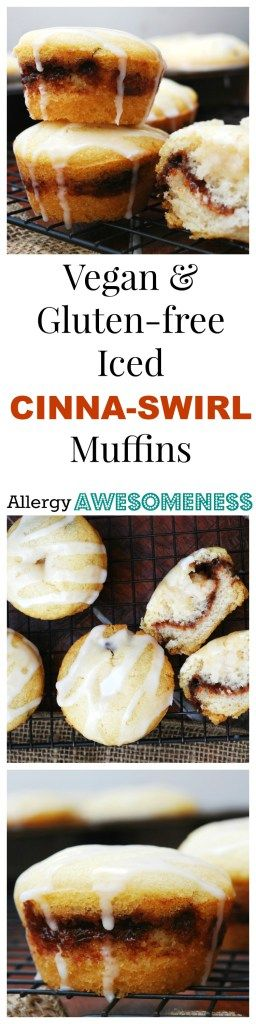 Cinna-Swirl Muffins (GF, DF, Egg, Soy, Peanut, Tree nut Free, Top 8 Free, Vegan) Breakfast recipe by AllergyAwesomeness.com |Gluten-free| |Dairy-free| |Egg-free| |Vegan breakfast| |Gluten-free breakfast| |Gluten-free muffins| |Vegan muffins| |Allergy-friendly|