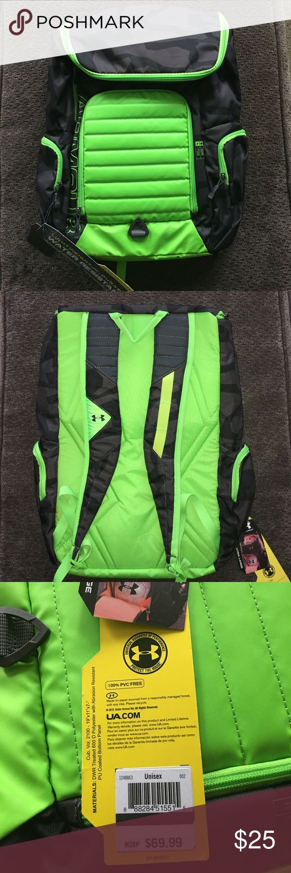 Under Armour Undeniable Vx2 Backpack Like New Condition - Unisex Backpack - Two Pen Ink Stains On The Inside Of The Bag As Seen In The Photos - No Other Problems - Water Resistant - Lightweight & Durable - XL Bag - Lime Green & Black Camo Under Armour Bags Backpacks