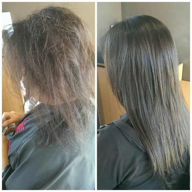 Before Amp After Two Color Foil Brazilian Blowout