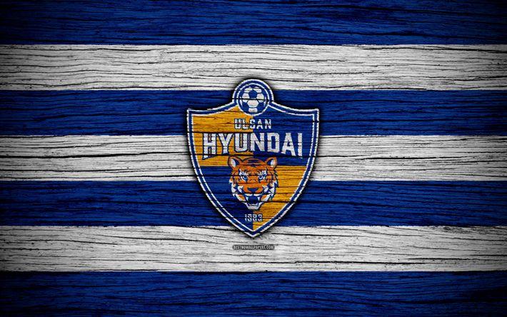 Download wallpapers Ulsan Hyundai FC, 4k, K League 1, wooden texture, South Korean football club, logo, blue white lines, emblem, Ulsan, South Korea, football