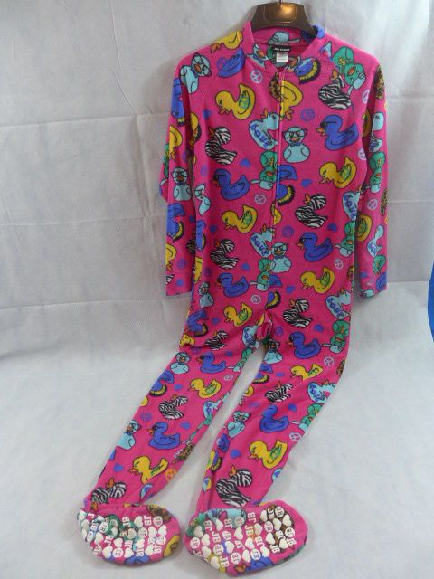 Joe Boxer Womens Footed Pajamas Fleece Footies Ducks & Peace Pink #JoeBoxer #FootedPajamas