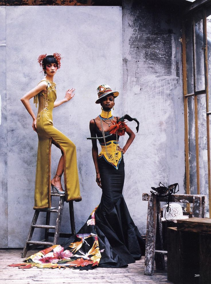 'Couture Clash', Ling Tan and Debra Shaw by Peter Lindbergh, Vogue US April 1997. Both dresses are from Christian Dior Spring Summer 1997 Haute Couture.