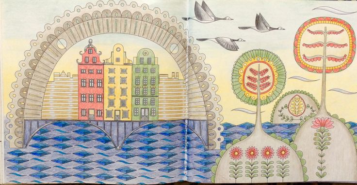 Dream Cities. Stockholm. Coloured by Prue.