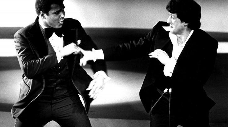 Sylvester Stallone Muhammad Ali fight sparring duel 1977 Oscar Awards Rocky Balboa Surfolks