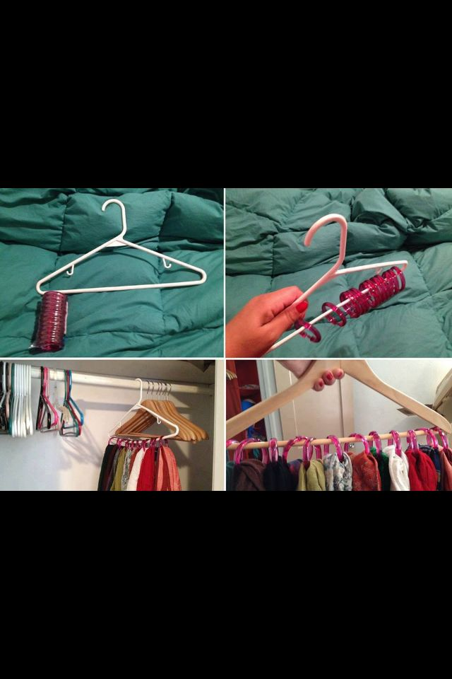 Organize your scarfs!!!!  Shower rings on a clothes hanger.   GENIUOS