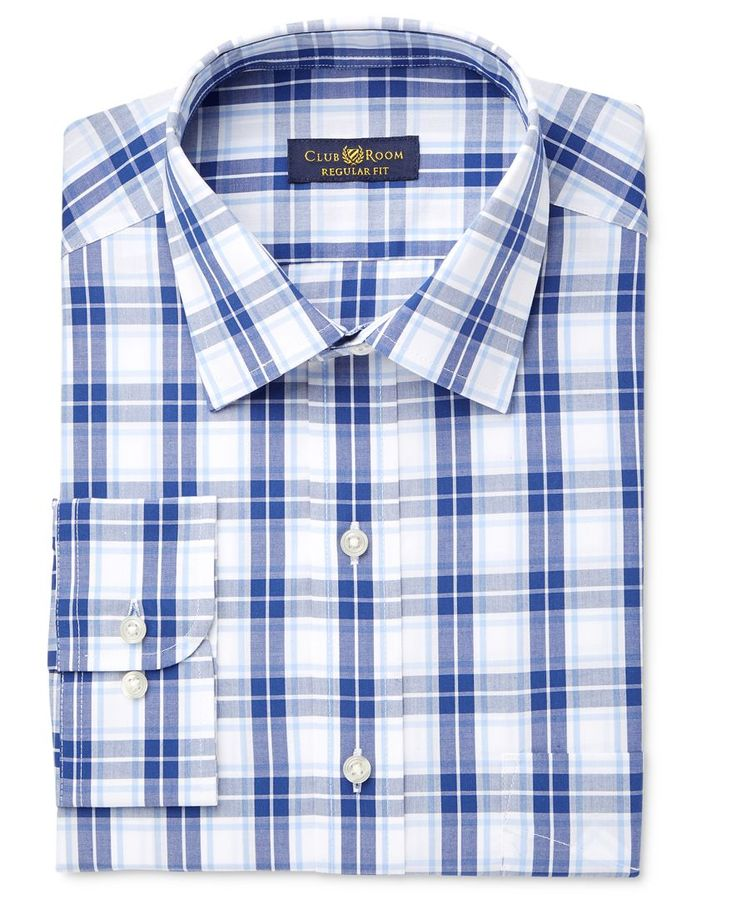 Club Room Men's Estate Classic/Regular Fit Wrinkle Resistant Navy Blue Check Dress Shirt, Only at Macy's