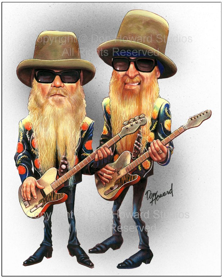 ZZ Top Limited Edition Celebrity Caricature by Don Howard