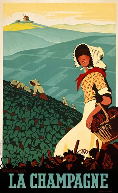 La Champagne by Senechal 1938 France - Beautiful Vintage Poster Reproductions. This vertical french wine and spirits poster features a women wearing a bonnet walking through a vineyard with a basket of grapes. Giclee Advertising Print. Classic Posters