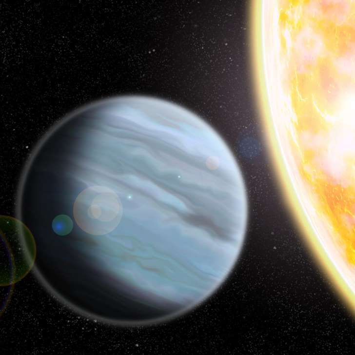 This is an artist's rendering of KELT-11b, a 'Styrofoam'-density exoplanet orbiting a bright star in the Southern Hemisphere.