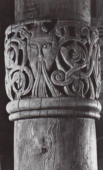 Stave church at Hurum in Valdres, capital with carved head. Despite being a Christian church, leftover Viking gods appear in the capital sculpture. Paganism held out in Viking culture centuries longer than anywhere else in Europe; Odin died hard.