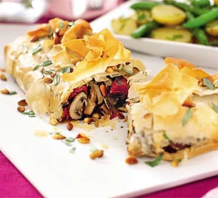 The gourmet combination of mushrooms adds variety and texture to these filo parcels
