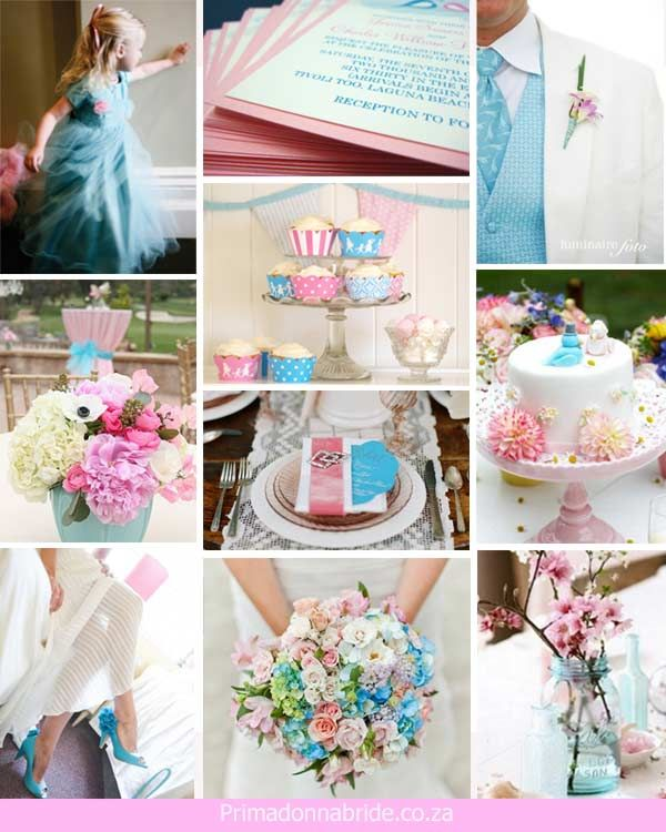Pink and blue wedding inspiration board
