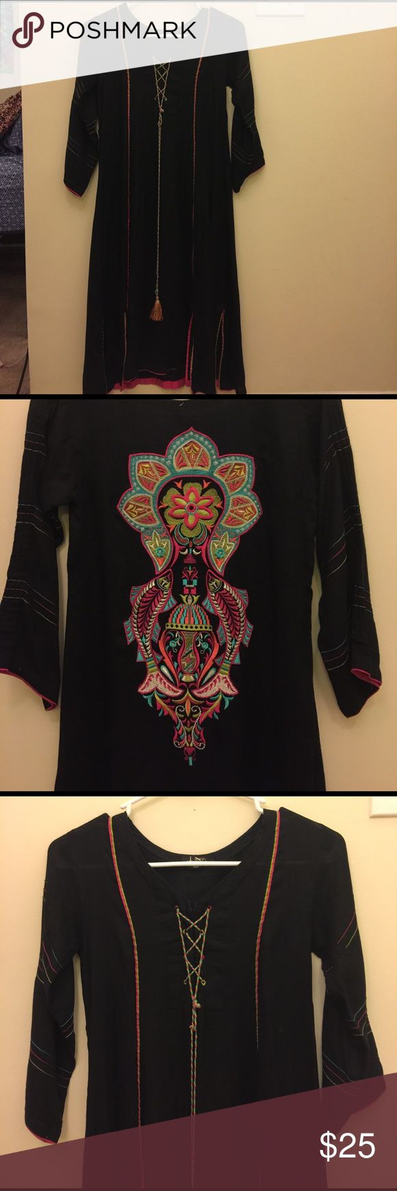 """J Crew teens embroidered dress Definitely for younger more """"preteen"""" girls. Very pretty embroidery on the back and a pretty tassel on the front. J Teens Dresses Casual"""
