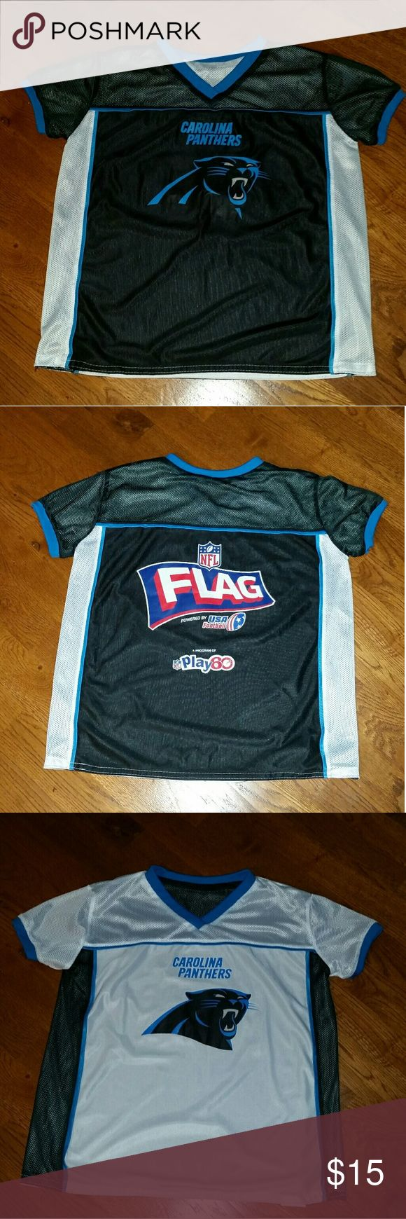 Carolina Panthers NFL Flag Football Jersey Size YL Official Boy's Carolina Panthers Reversible NFL Flag Football Jersey Size YLG. Great condition. There are a few cracks on the logos from washing. See cracking in the pictures above. All items come from a smoke-free home. There are no refunds and no returns so please ask questions before purchasing. Thank you! NFL Other