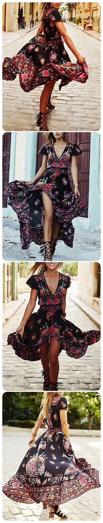 Womens Summer Vintage Boho Long Maxi Party Beach Dress Floral Sundress Black New