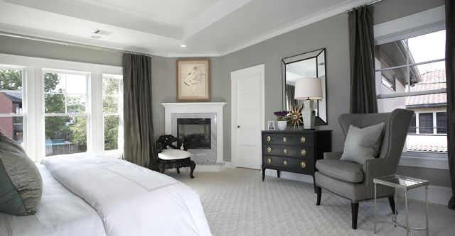 I think I like gray/white bedrooms with dark furniture. So easy to add a pop of color!