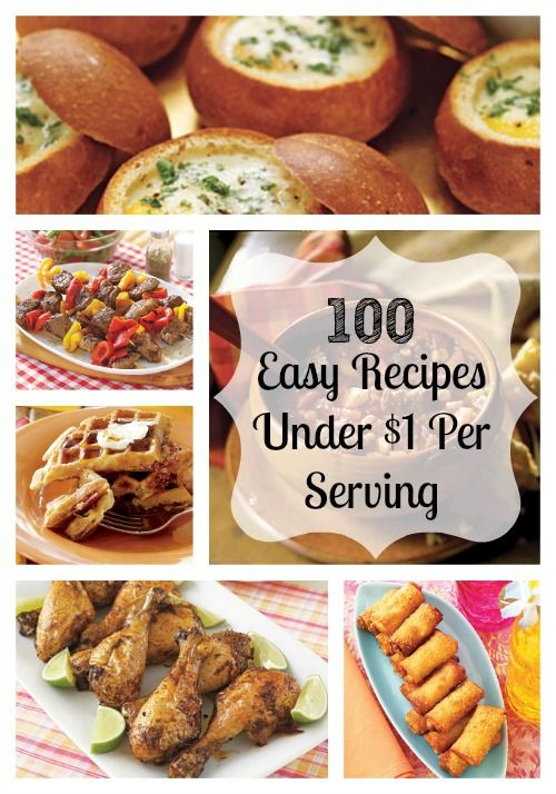 100 Cheap and Easy Recipes Under $1 Per Serving! Awesome list!! Definitely a *Must Pin*