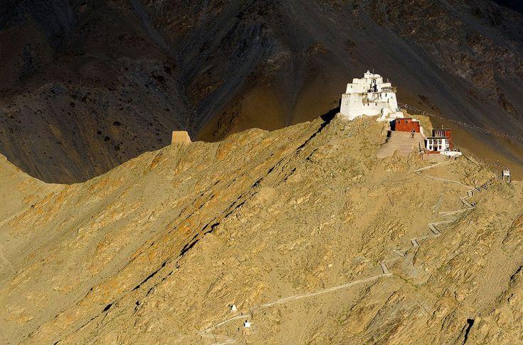 Namgyal Tsemo Monastery, Ladakh, India: The last rays of the day light up Namgyal Tsemo Monastery above Leh, Ladakh, India. (© Robert van Sluis