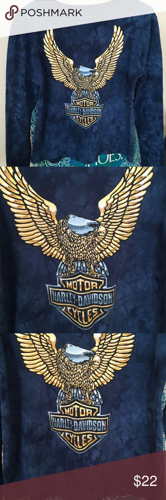 "HARLEY DAVIDSON BLUE TIe Dye cotton MOTOR CYCLES S BLue tie dye Long sleeved round neck Harley ladies shirt. large eagle MOTOR CYCLES HARLEY- DAVIDSON on front.... Back reads GRAND Canyon HARLEY -DAVIDSON Prescott Arizona. Small 17 3/4"" UA - UA .......20 3/4"" T- B Harley-Davidson Tops Tees - Long Sleeve"