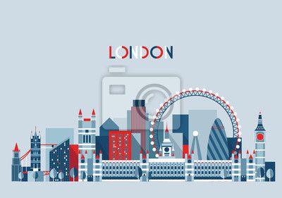 Londyn, anglia city skyline wektorowych. mieszkanie trendy. na obrazach Redro. Najlepszej jakości fototapety, naklejki, obrazy, plakaty, poduszki. Chcesz ozdobić swój dom? Tylko z Redro