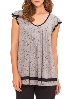 Ellen Tracy Women's Flutter Sleeve Top - Gray - Xl