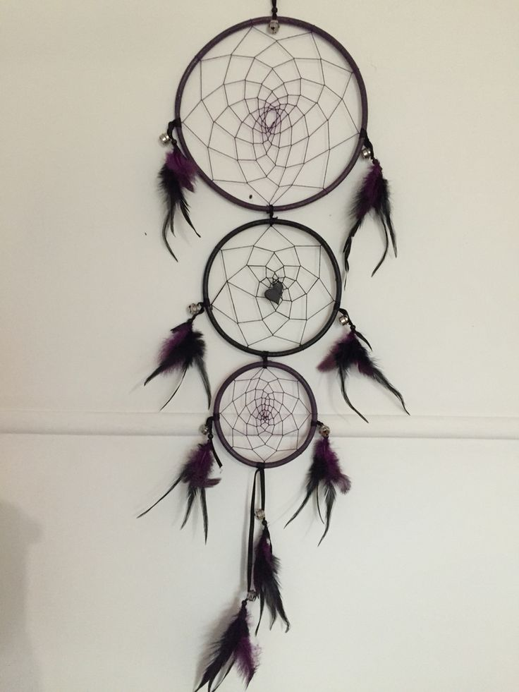 Triple ring dreamcatcher Purple and black with bells