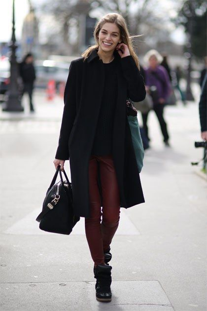As much as we love black leather pants, we love red leather pants even more.