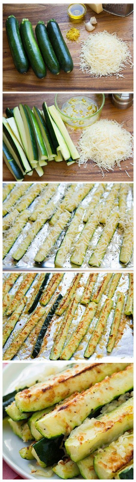 "Garlic, Lemon & Parmesan Oven-Roasted Zucchini. A pinner: ""You are going to LOVE the flavor of this zucchini.....they are incredibly easy to make!"""