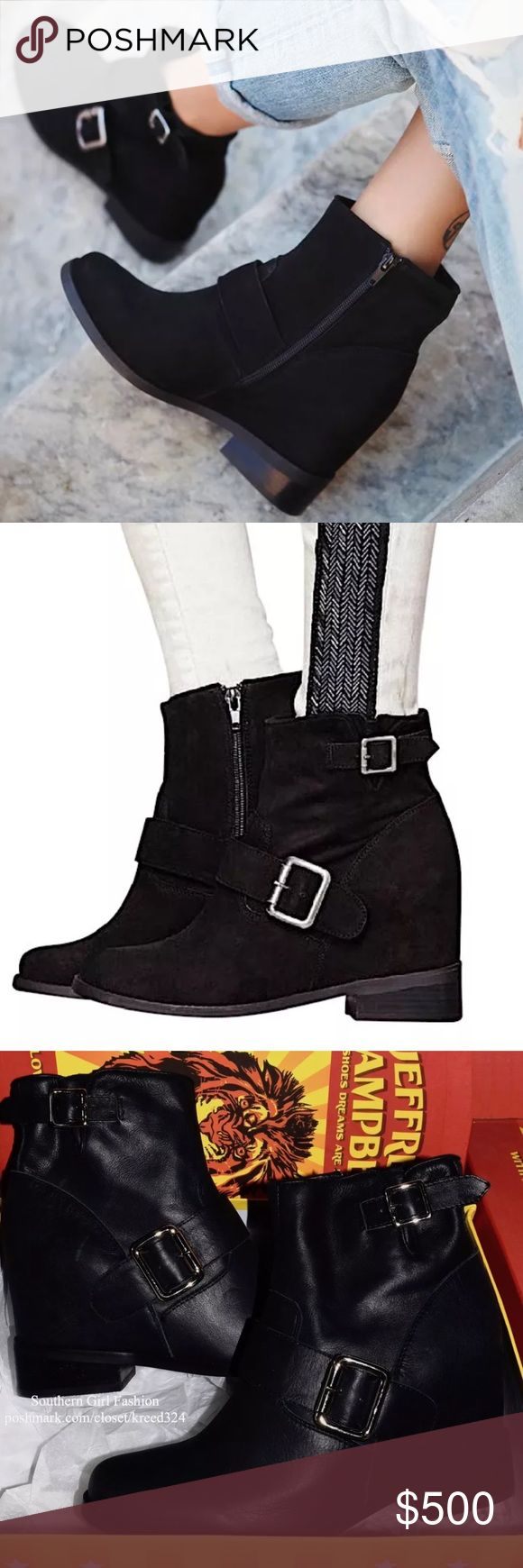 FREE PEOPLE Ankle Boots Bohemian Wedged Heel Shoes Available Sizes: 10, 11 .   New With Box.  $238 MSRP + Tax.  • Beautiful black leather ankle booties featuring silver buckles & a generous hidden wedge. • Distressing throughout with side zip closure. • Comfortable lined interior & rounded toe. • Note: runs approx. 1/2 size small. • By Jeffrey Campbell for Free People.  {Southern Girl Fashion - Closet Policy}  ✔️ Same-Business-Day Shipping (10am CT) ✔️ Reasonable best offer considered when…