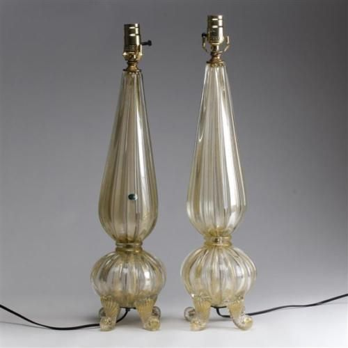 Pair-Barovier-clear-and-039-foglia-d-039-oro-039-art-glass-lamps-1950s-Lot-181