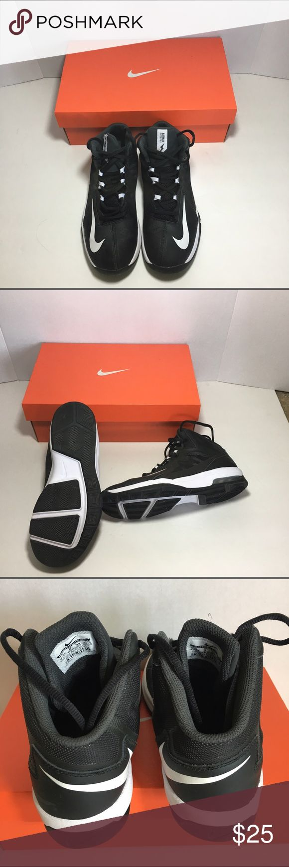Nike youth size 6.5 basketball shoes These are in great condition only worn for a few months on the court. Youth size 6.5. Color is black and white. Come in the original box as shown Nike Shoes Sneakers