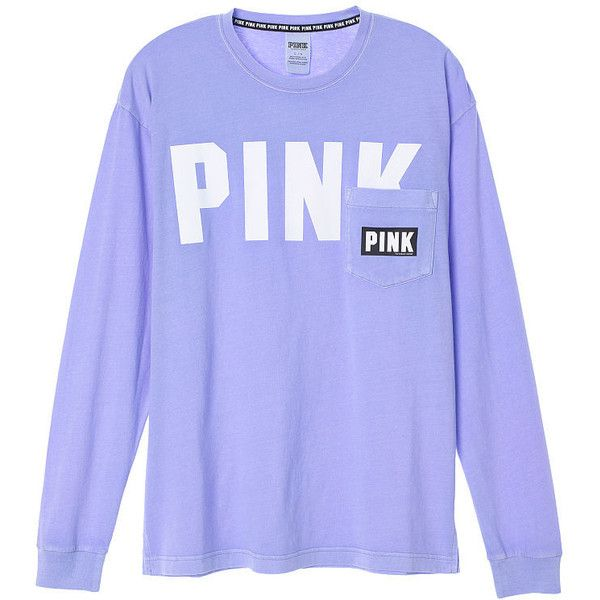 PINK Campus Long Sleeve Tee ($25) ❤ liked on Polyvore featuring tops, t-shirts, cotton t shirts, pink t shirt, long sleeve t shirts, purple t shirt and pink tee