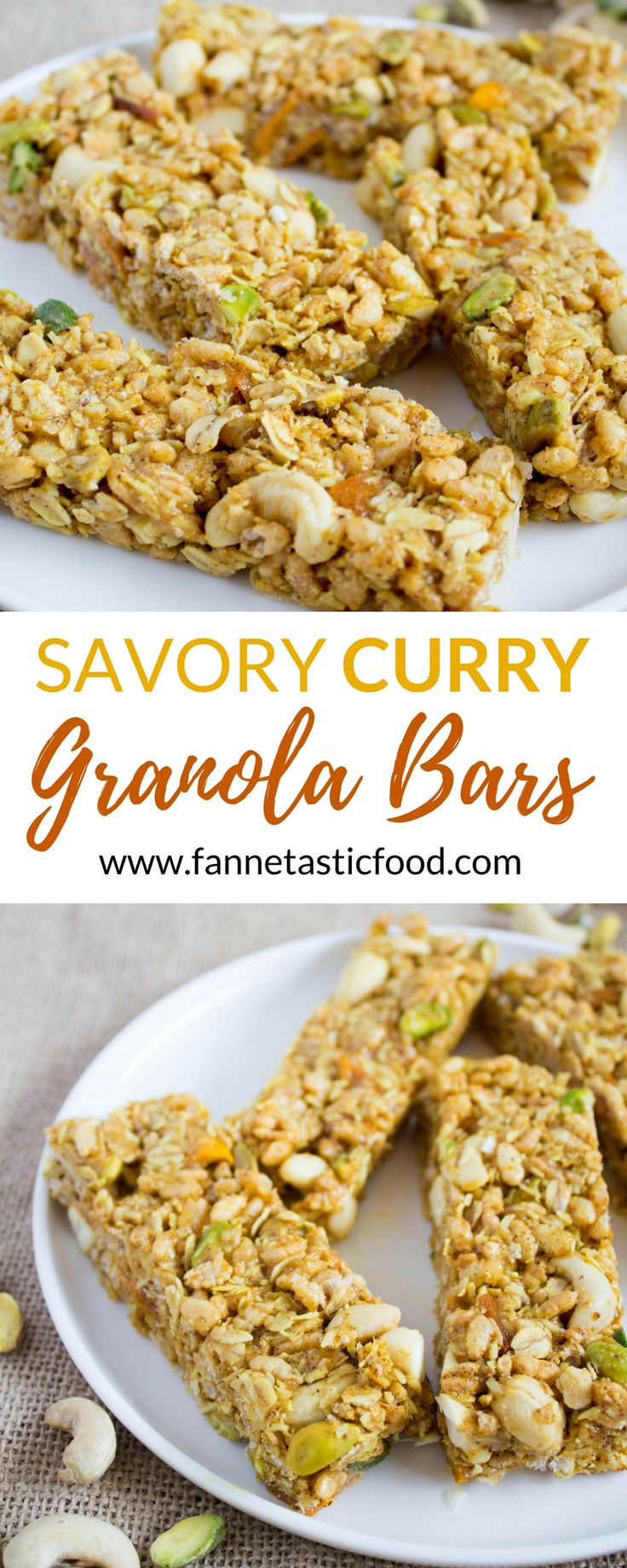 Savory Curry Granola Bars - If you've never tried savory granola bars, you're in for a treat! Sweet, savory, salty, chewy, crunchy, and filled with delicious curry flavor. | healthy granola bar recipe | no bake granola bars | savory granola bar recipe | homemade granola bars |
