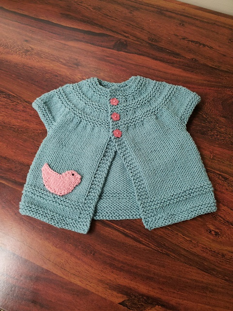 Baby Girl Cardigan - variety of sizes up to child with 27 inch chest. Pattern costs $6.00