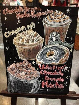 Beautiful Starbucks Chalk board ART!! So cool~