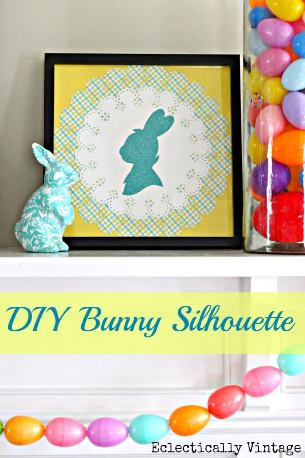 Super cute DIY Bunny Silhouette by @Eclectically Vintage www.eclecticallyvintage.com