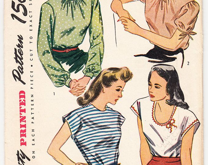 Vintage 1944 Simplicity 1093 Sewing Pattern Junior's, Misses' Blouse Size 11 Bust 29