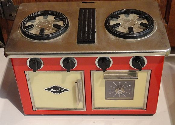"1950s/60s tin toy stove marked ""Special."" Available now at the Vancouver Flea Market! http://www.facebook.com/Gleaner84"