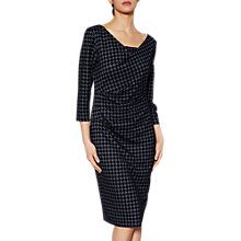 Buy Gina Bacconi Rachel Dogtooth Flock Dress, Blue/Black Online at johnlewis.com
