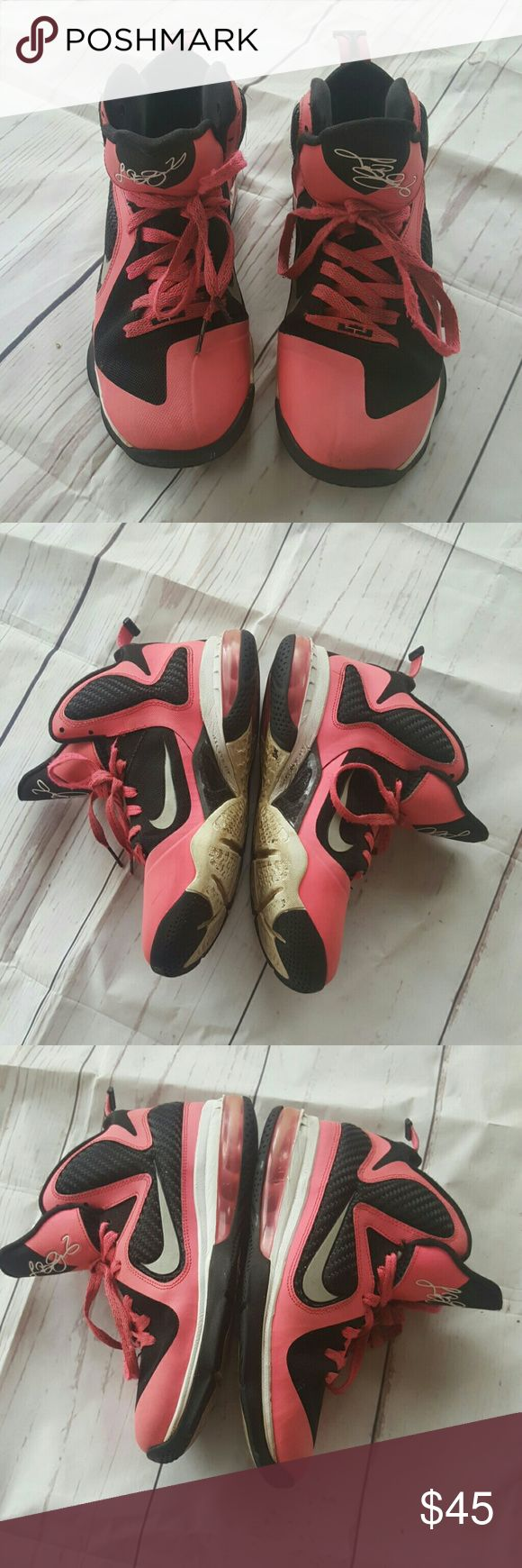 7y boys  le bron james nike pink Awesome pair of hot pink and black LeBron James Nike size 7y and boys some signs of wear but clean. le bron james Shoes Sneakers