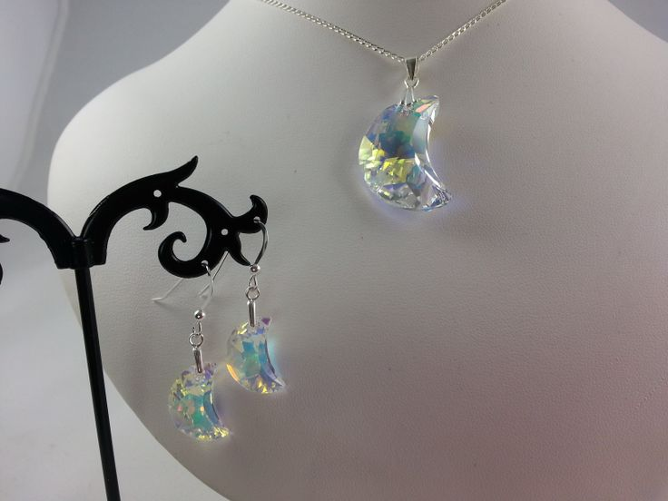 Swarovski crystal moon necklace and earring set, sterling silver chain and ear hooks