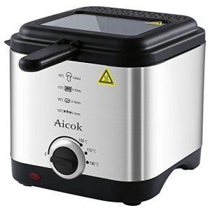 Aicok Mini Friteuse Avec Fenêtre De Contrôle, Contrôle De La Température, Capacité D'huile 1,5 litres, Et Cuve En Acier Inoxydable