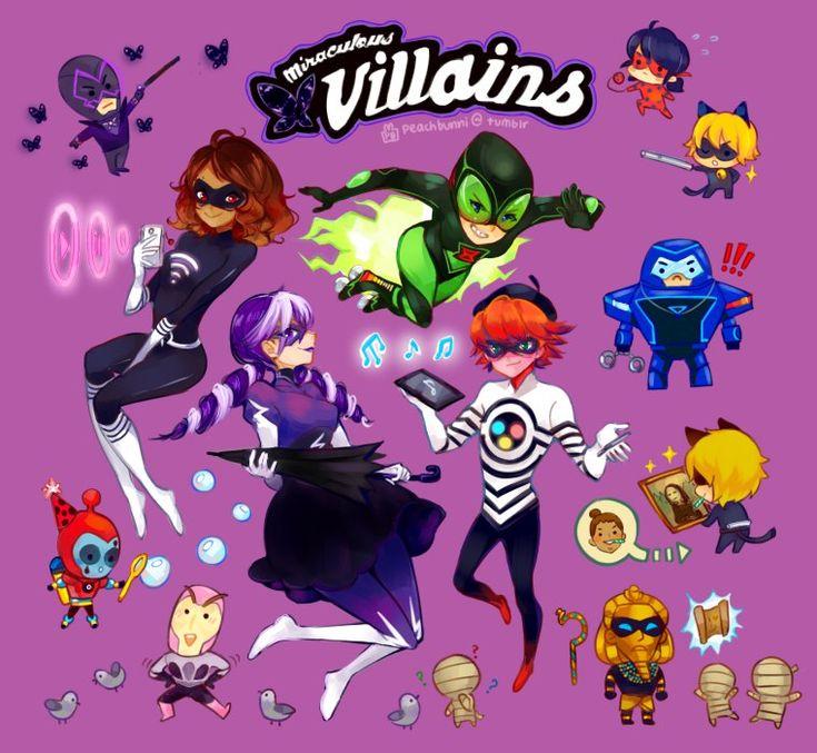 miraculos ladybag, vilões