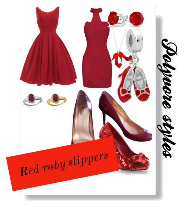 """""""Polyvore styles, red ruby slippers"""" by russell-mina on Polyvore featuring Funtasma, Any Old Iron, Bling Jewelry, Report and Jewelonfire"""